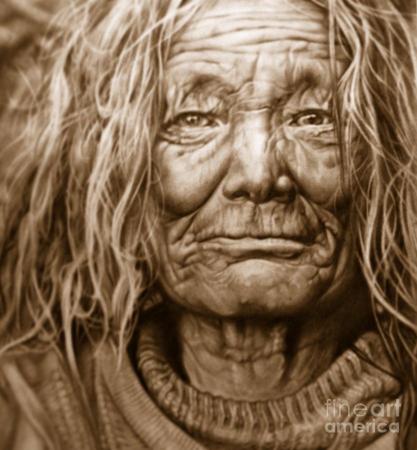 835x900 Old Woman Drawing By Gemma Pallat