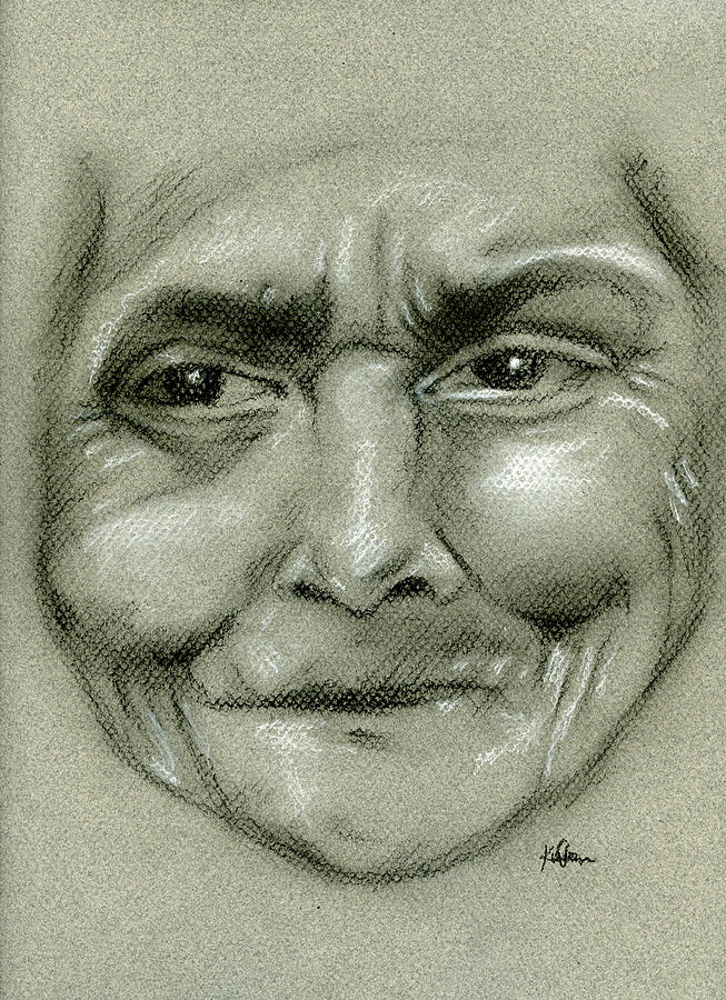 653x900 Old Woman Drawing By Karen Clark
