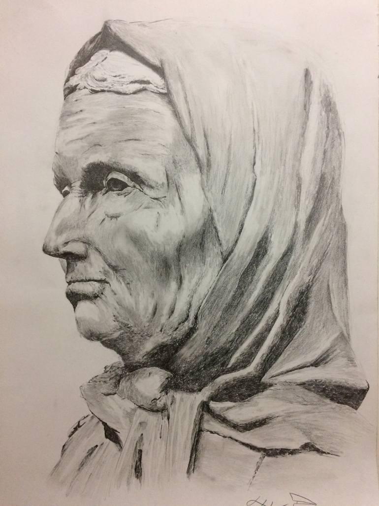 770x1027 Saatchi Art Old Woman Drawing By Ivan Gordeychik