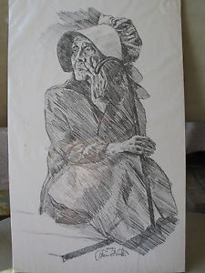 225x300 Vintage Pencil Drawing Print Of An Old Woman By Thomas Voorhis 8