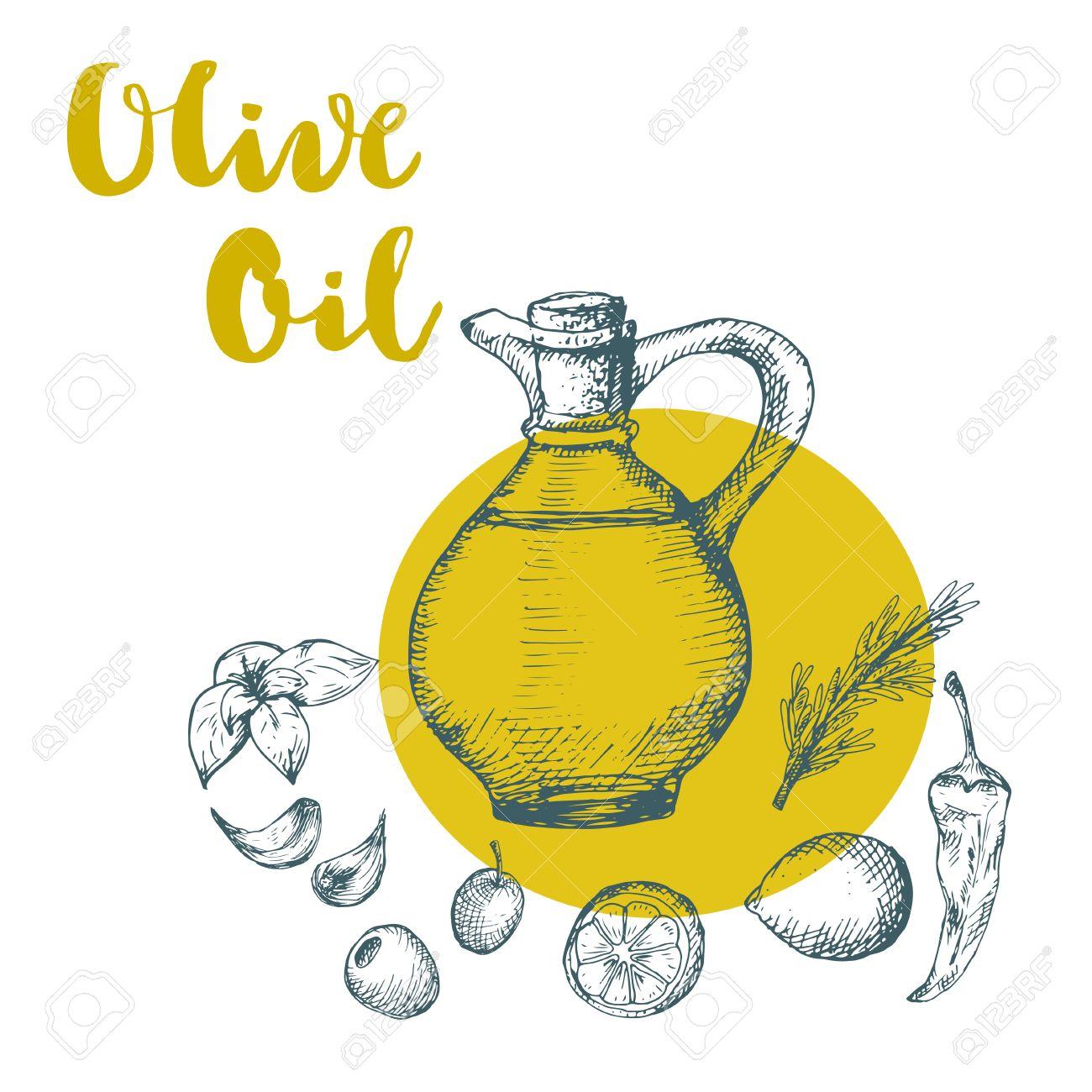 1300x1300 Olive Oil Design Illustration. Sketch Drawing Of Oil Bottle