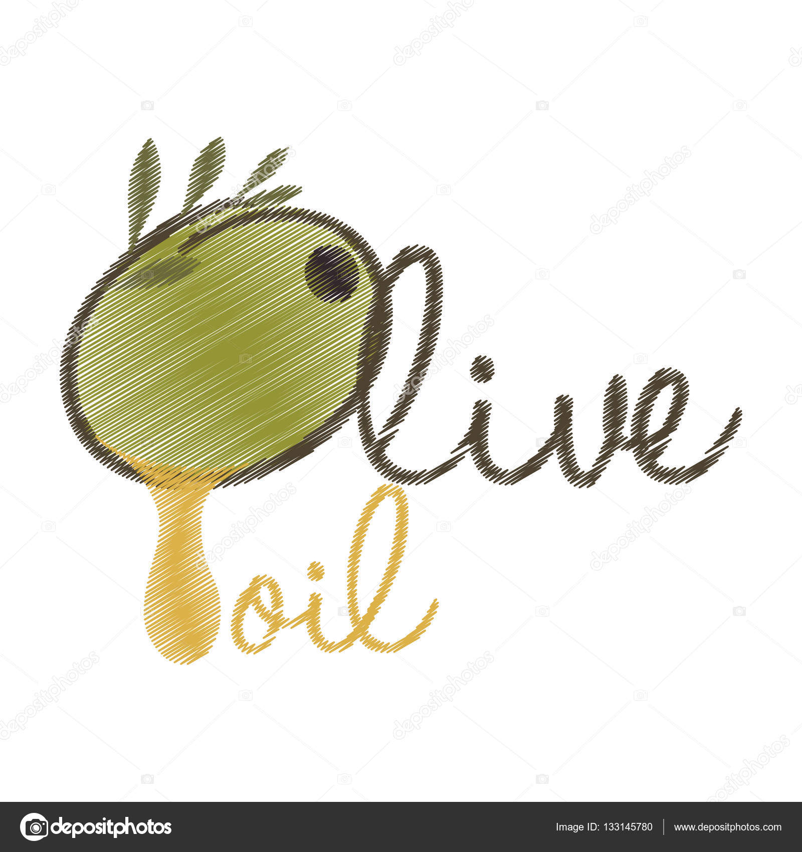 1600x1700 Drawing Lettering Olive Oil Design Stock Vector Djv