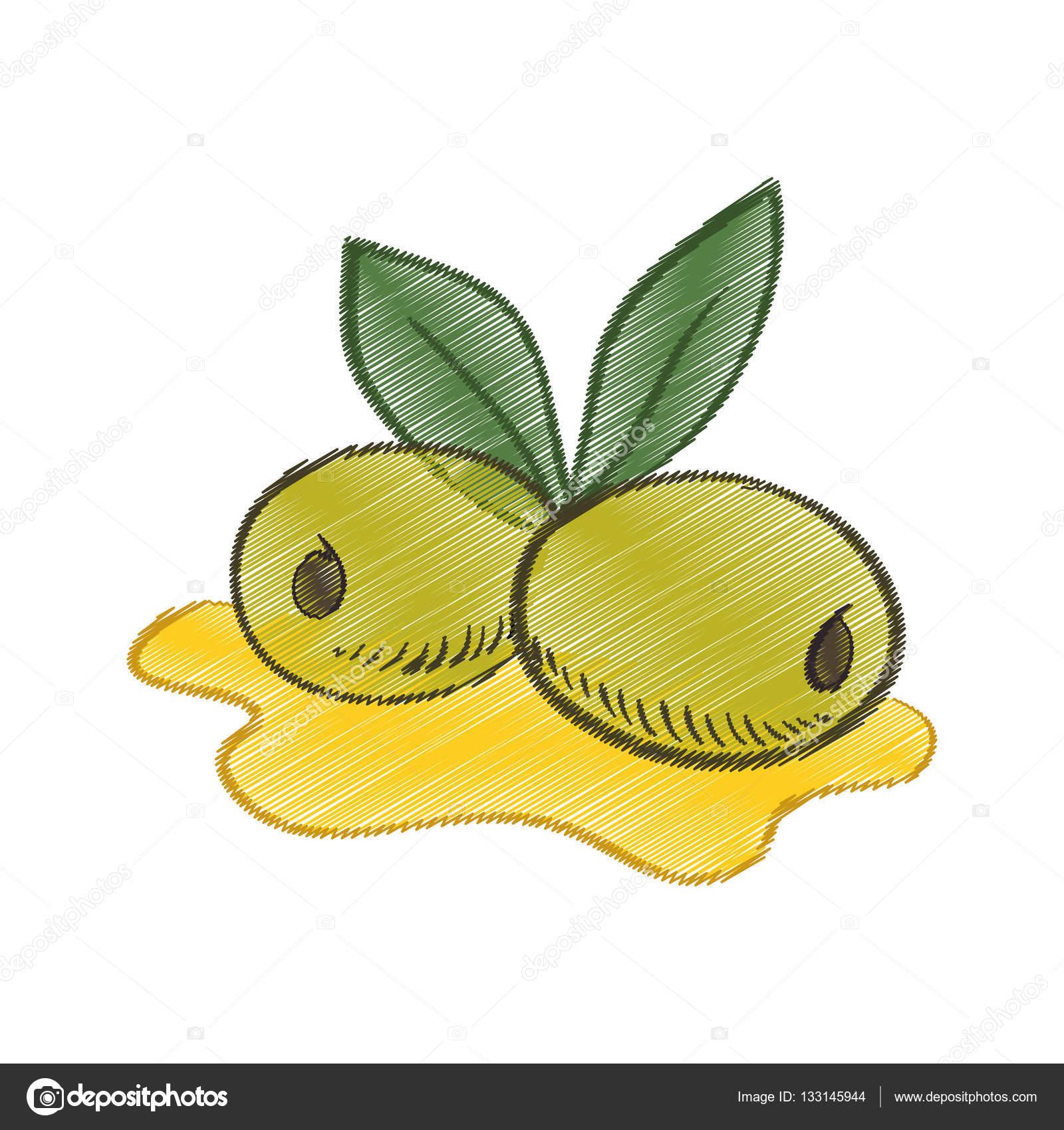 1600x1700 Drawing Olive Oil Leaf Spill Stock Vector Djv