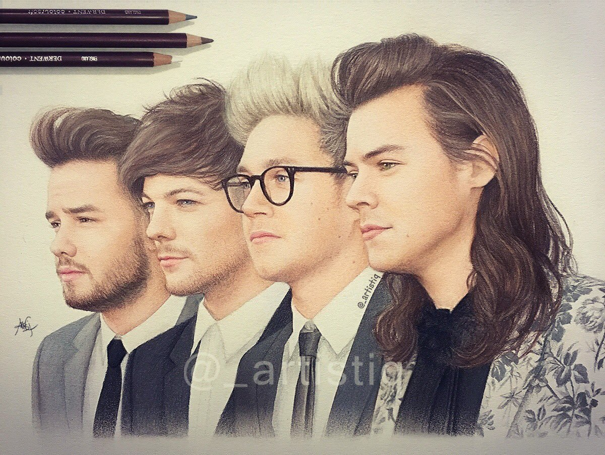 1200x903 Artistiq On Twitter One Direction, Drawn With Colored Pencils