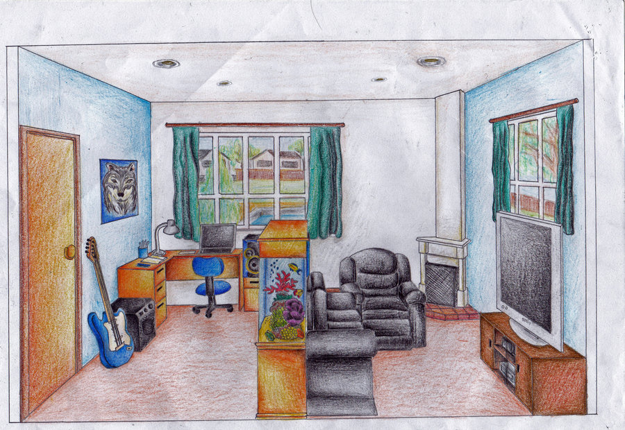 900x620 1 Point Perspective Room By Ice Wolf Elemental On DeviantArt