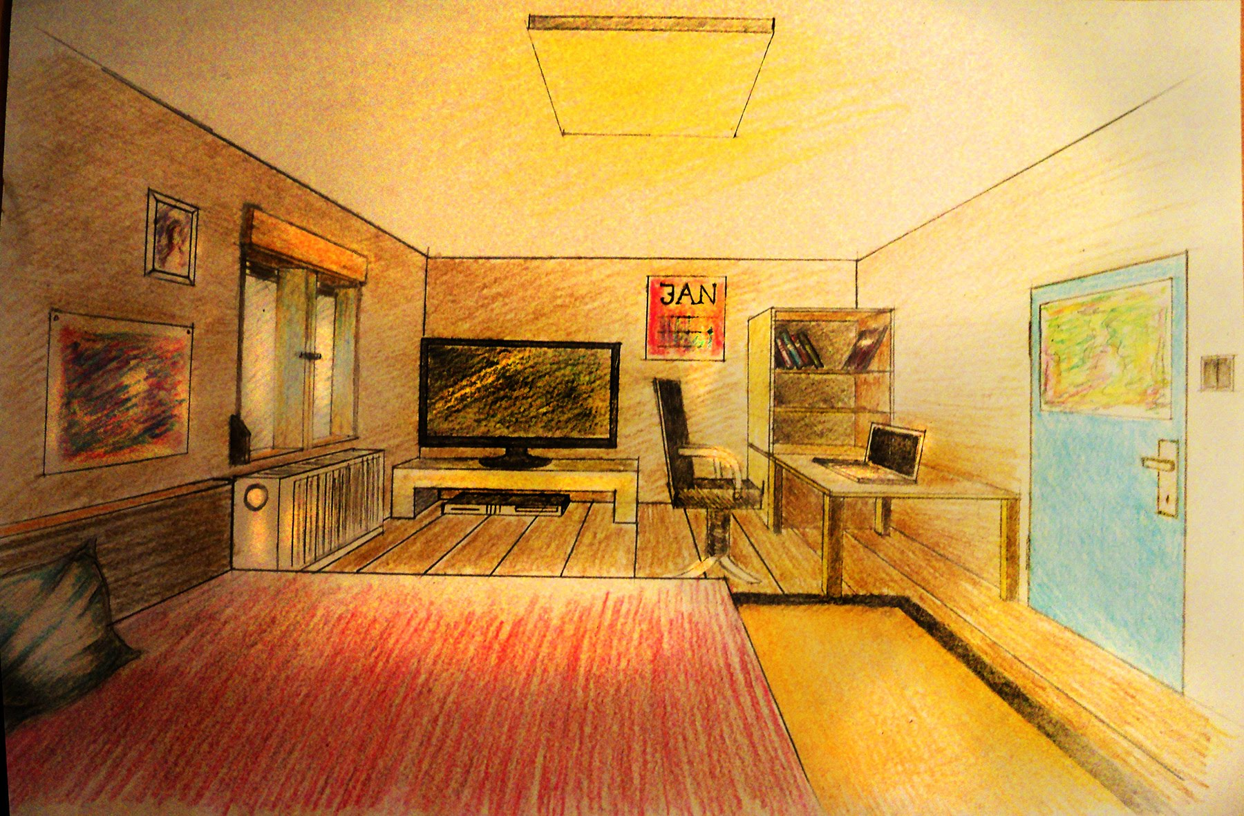 One Point Perspective Bedroom Drawing at GetDrawings ...