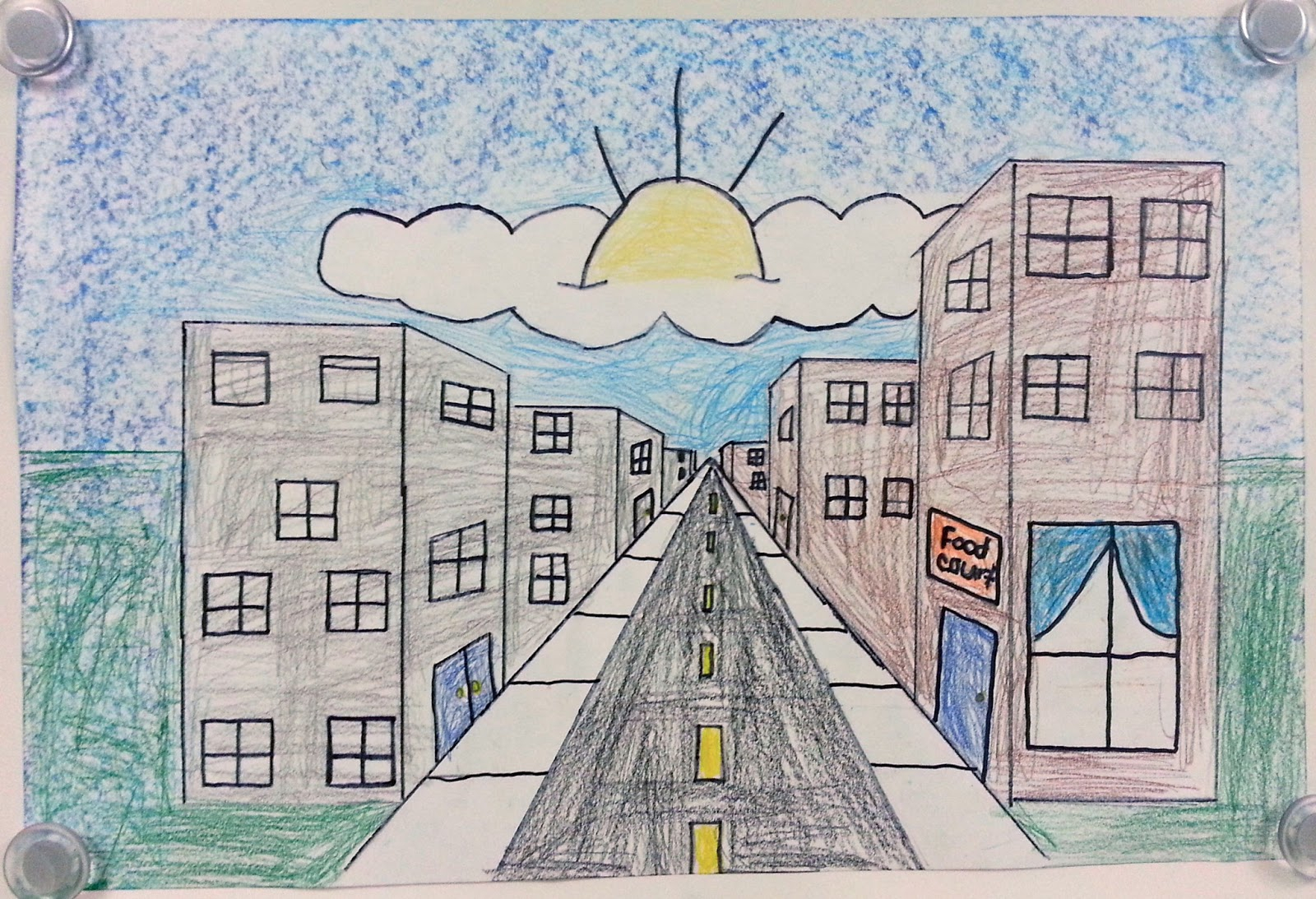1600x1093 City Life Simple Drawing One Point Perspective City Streets (5th
