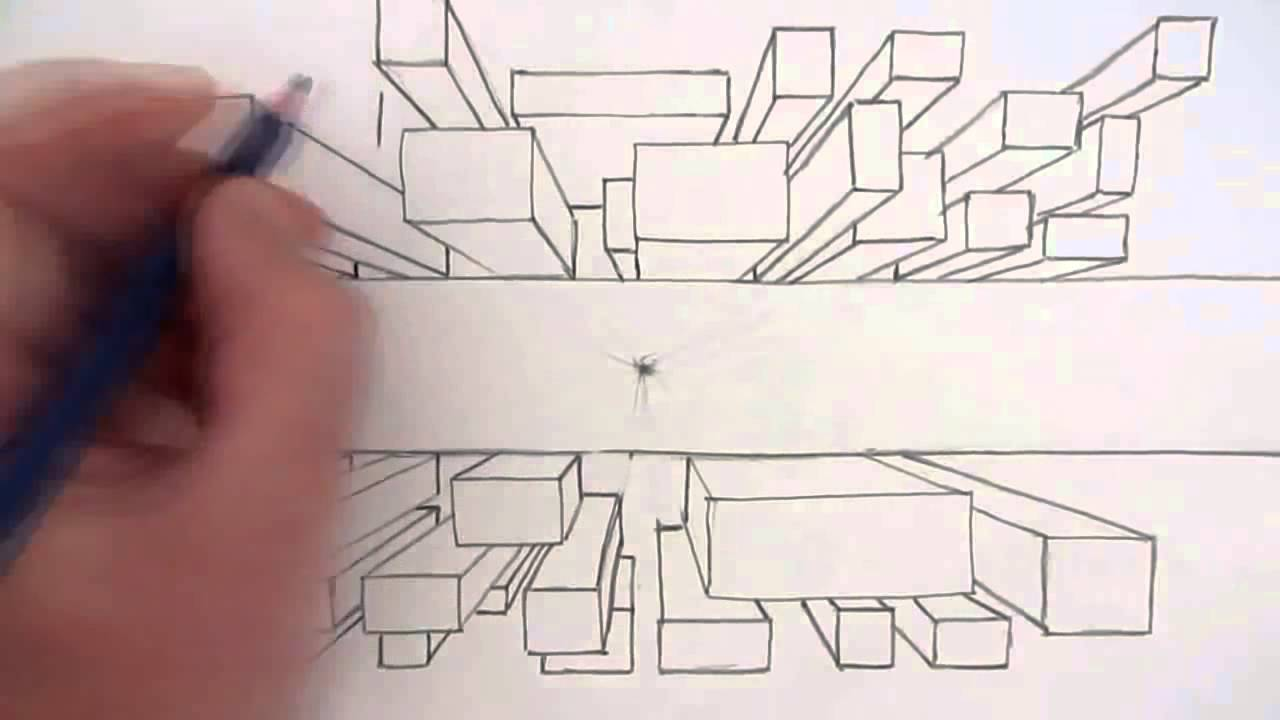 1280x720 How To Draw A City Using One Point Perspective A Bird's Eye View