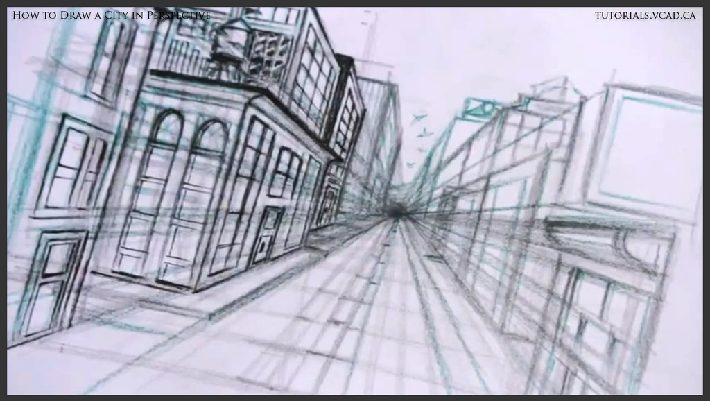 1024x578 How To Draw A City In One Point Perspective 028 By Drawingcourse