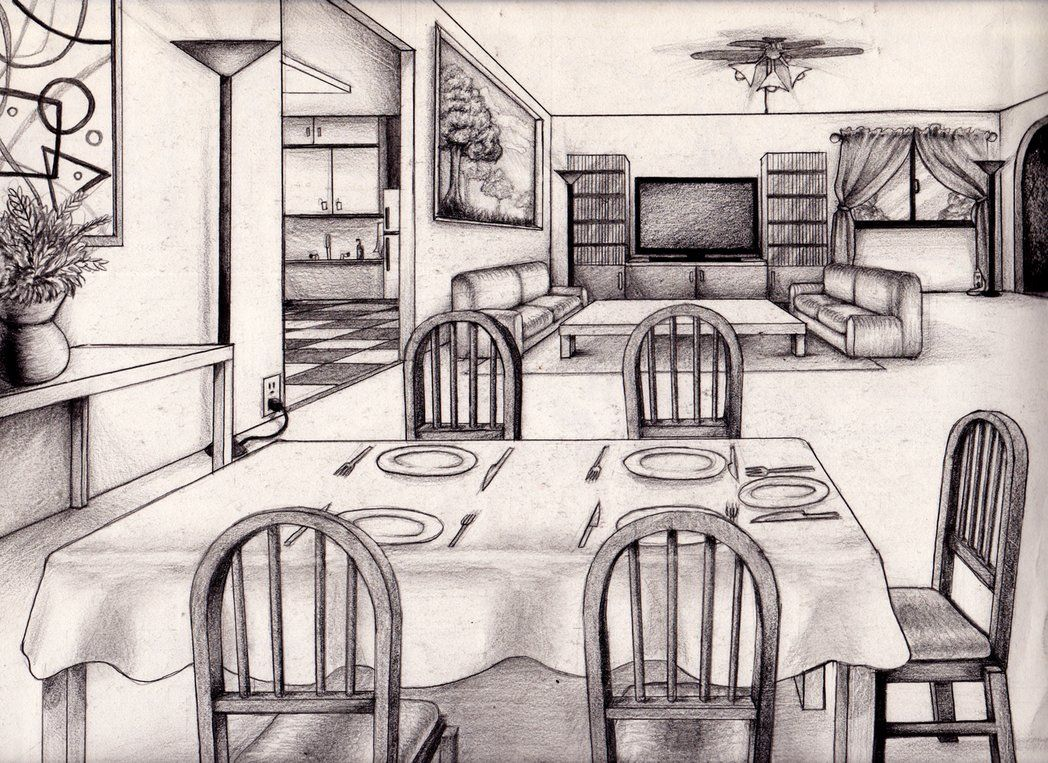 1048x763 1 Point Perspective Room 04 Draw Perspective, Room