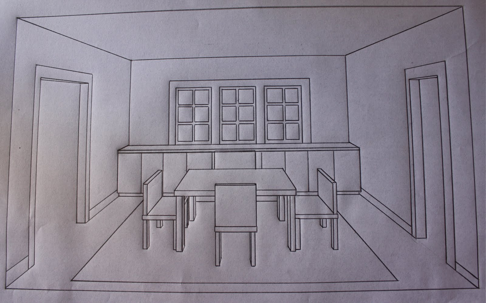 One Point Perspective Room Drawing At Getdrawings Com