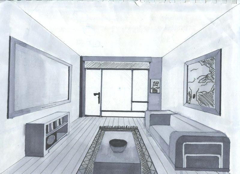 800x581 Living Room Perspective Cottage Project Living Room One Point