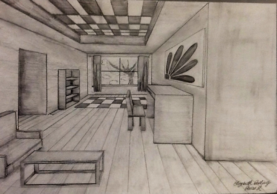 1071x751 One Point Perspective Room