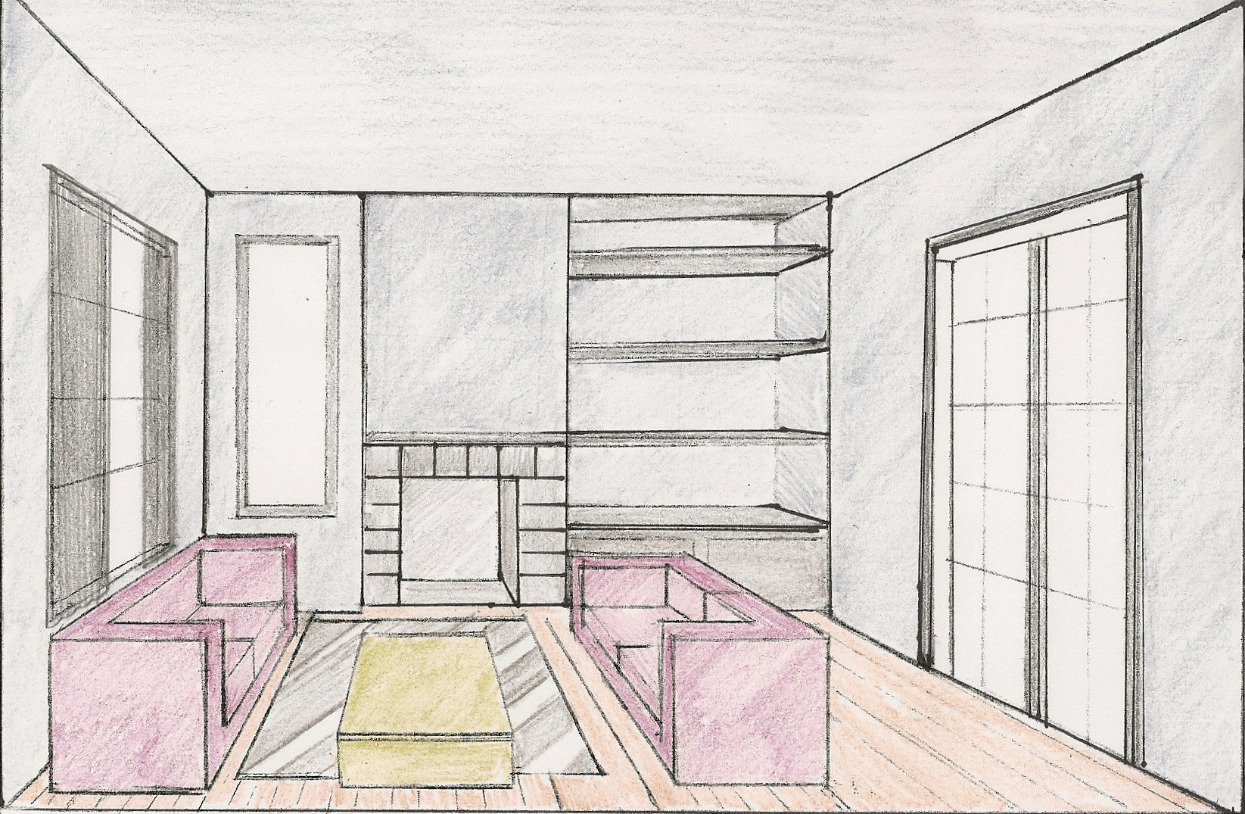 One point perspective room drawing at - One point perspective drawing living room ...