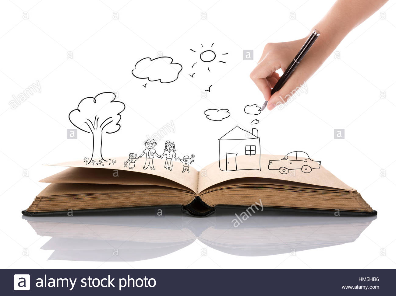 1300x973 Hand Draw In Open Book Of Lovely Family Stock Photo 132889098