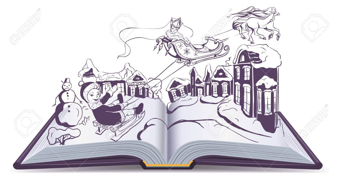 1300x686 Open Book Illustration Fairy Tale Snow Queen. Isolated On White