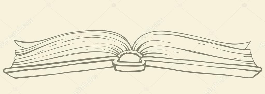 1022x362 Vector Drawing. Open Book In Hardcover Stock Vector Marinka