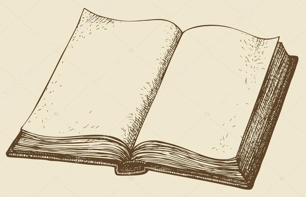 1024x660 Vector Sketch. Open Book Stock Vector Marinka