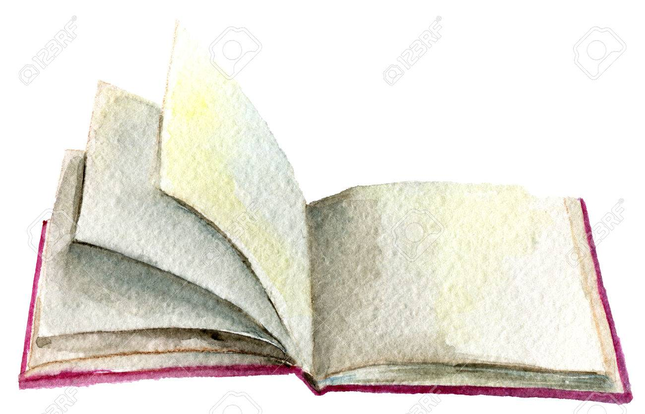 1300x834 Watercolor Sketch Of Open Book Isolated On White Background Stock
