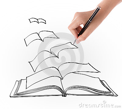 400x357 Drawings Of Open Books Hand Drawing Open Flying Book Stock
