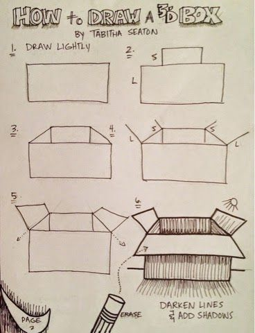 368x480 How To Draw A Box Step By Step Drawings Box