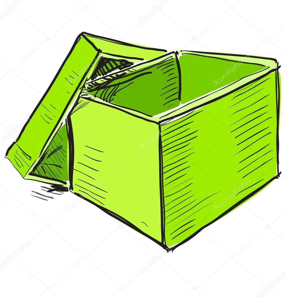 980x1023 Open Box In Green Color Stock Vector Chuhail
