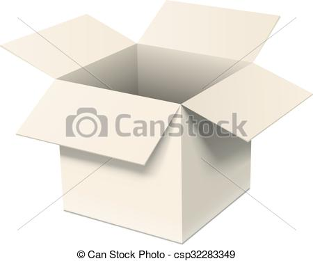 450x375 Open Box. Open Cardboard Box Isolated On White. Realistic Eps