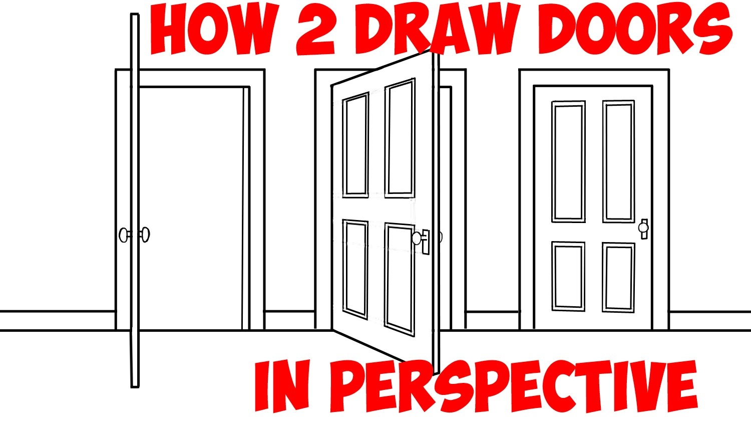 1500x844 How To Draw An Open Door (Opening Doors) In 2 Point Perspective