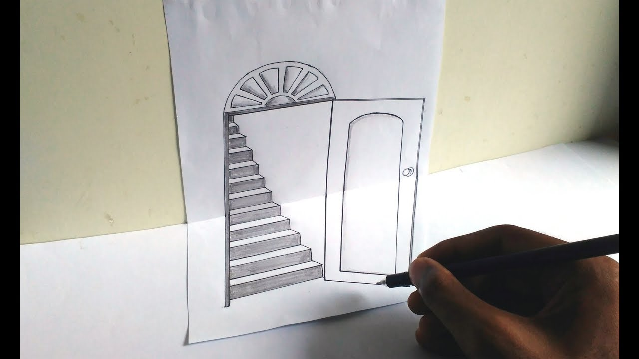 1280x720 How To Draw A 3d Open Door And Stairs Very Easily 3d Trick Art