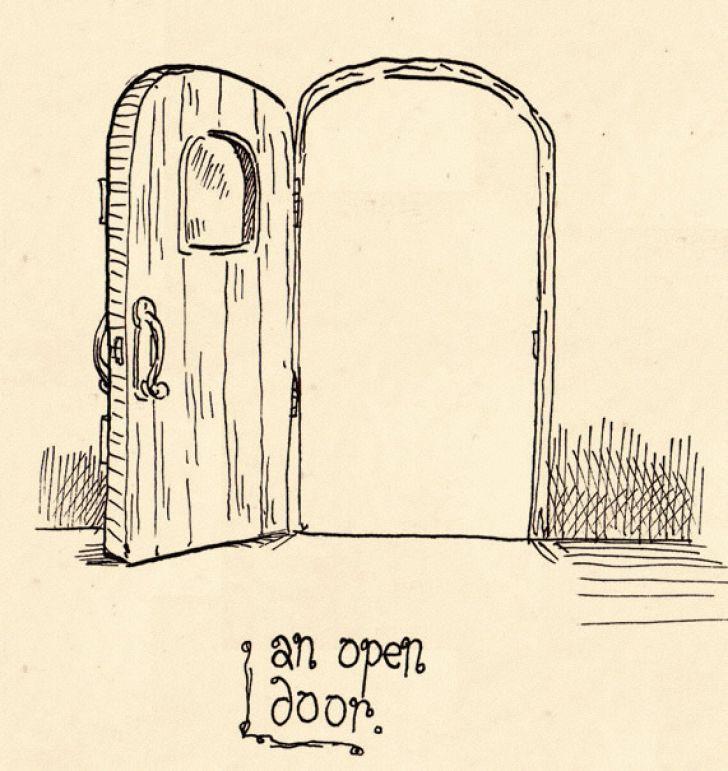 728x771 Charming Open Door Drawing With Drawing Of Open Single Yellow Door