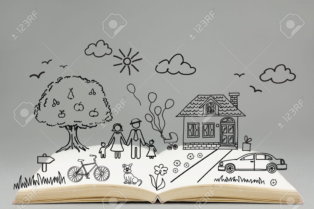 1300x867 Happy Family Concept. Family Drawing On Top Of The Open Book