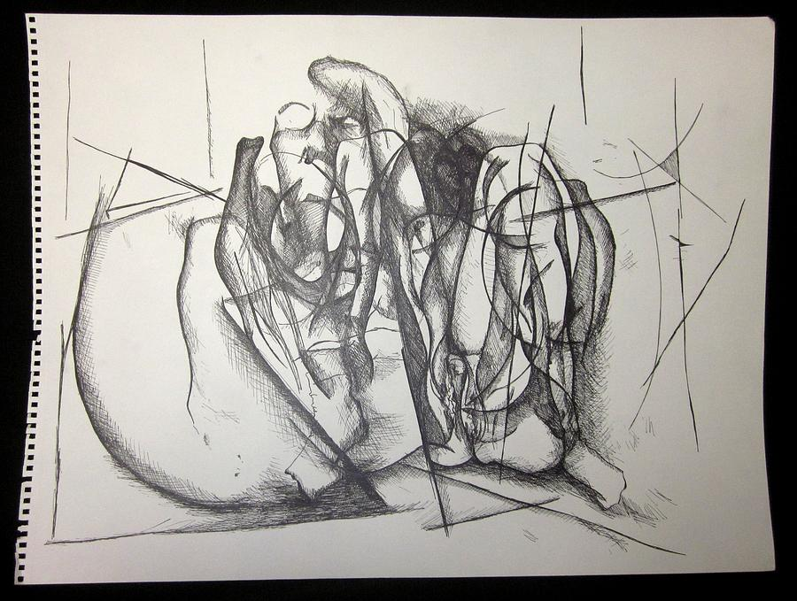 900x679 Nude Women Sitting With Her Legs Open Drawing By Steven Higgins