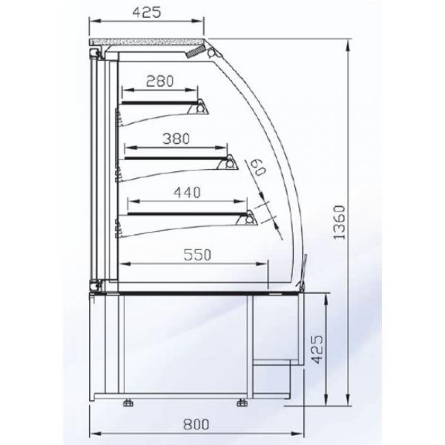 650x650 Alpine Vienna 60 R Open Deck 0.6m Display Fridge