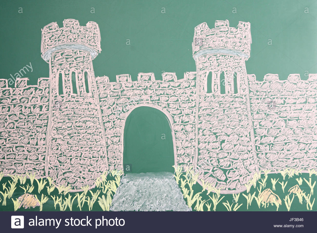 1300x956 Education Concept. Chalk Drawing Of Castle With Open Gate Stock