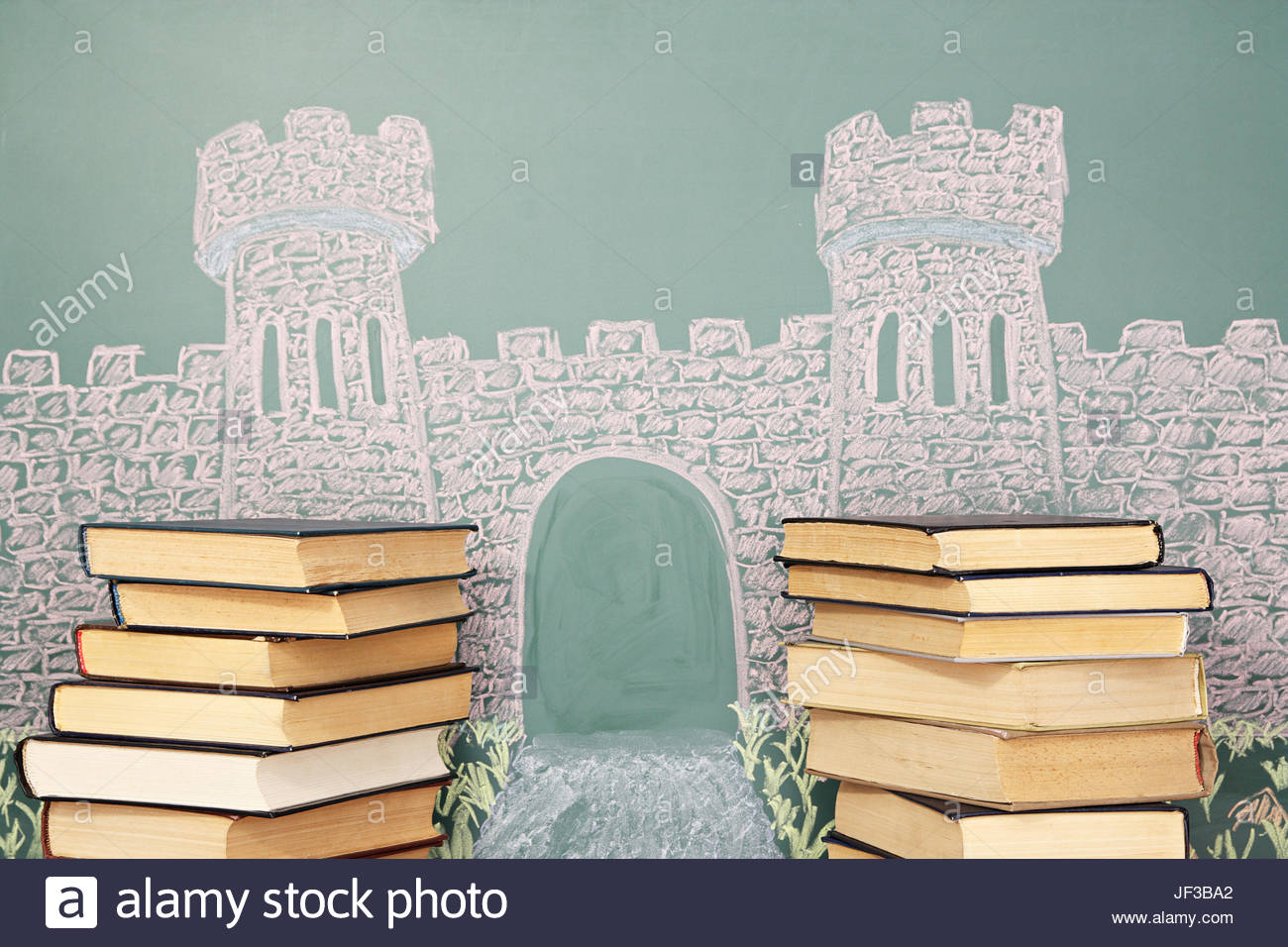 1300x956 Unusual Education Concept. Chalk Drawing Of Castle With Open Gate