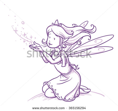 450x423 Cute Little Happy Fairy Girl Sitting And Blowing Fairy Dust