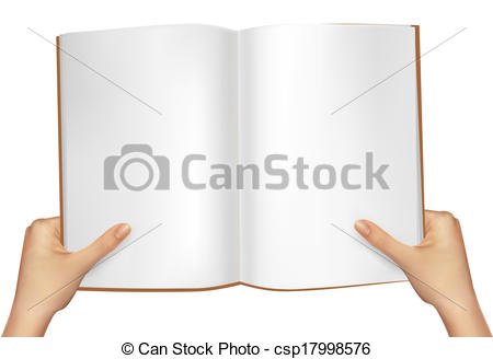 450x328 Hands Holding Open Book. Vector Illustration Vectors Illustration