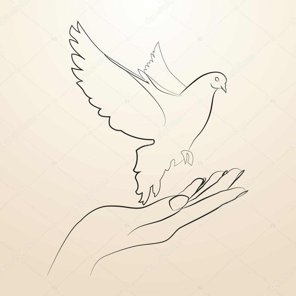 1024x1024 Pigeon Of Peace Flying From The Open Hands Sketch In Black Lines