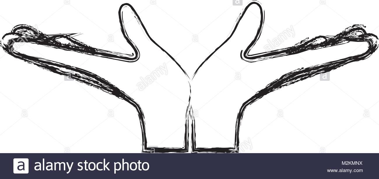 1300x616 Pair Open Hands Gesture On Blurred Silhouette Stock Vector Art