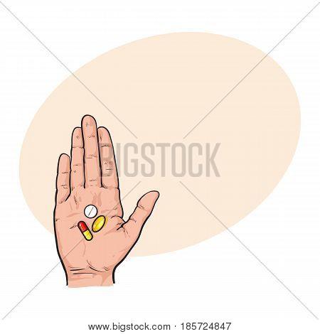 450x470 Hand Holding Three Colorful Pills Vector Amp Photo Bigstock