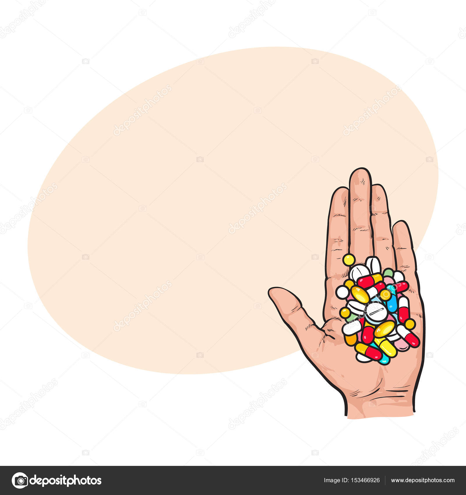 1600x1700 Hand Holding Pile Of Colorful Pills, Tablets In Open Palm Stock