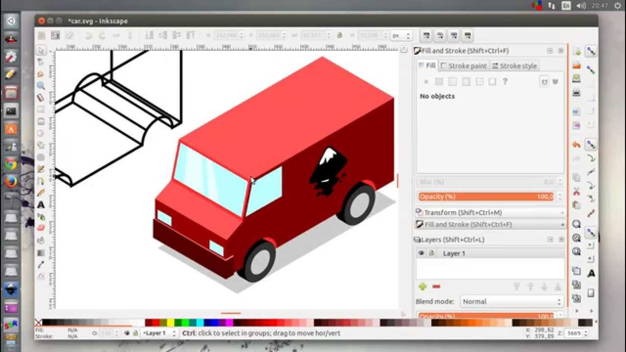 1280x720 Inkscape Isometric Cars Tutorial