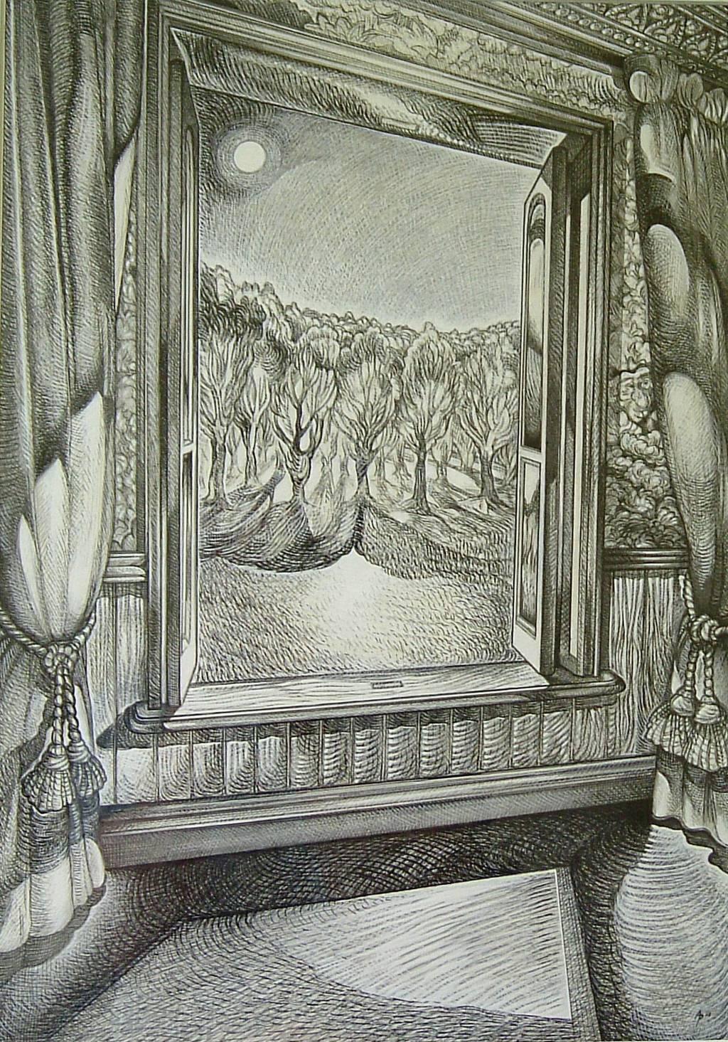 1024x1465 Austen Pinkerton Artwork Moonlight Through Open Window Original