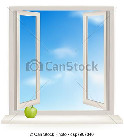 425x470 Open window against a white wall and the cloudy sky. vector clip