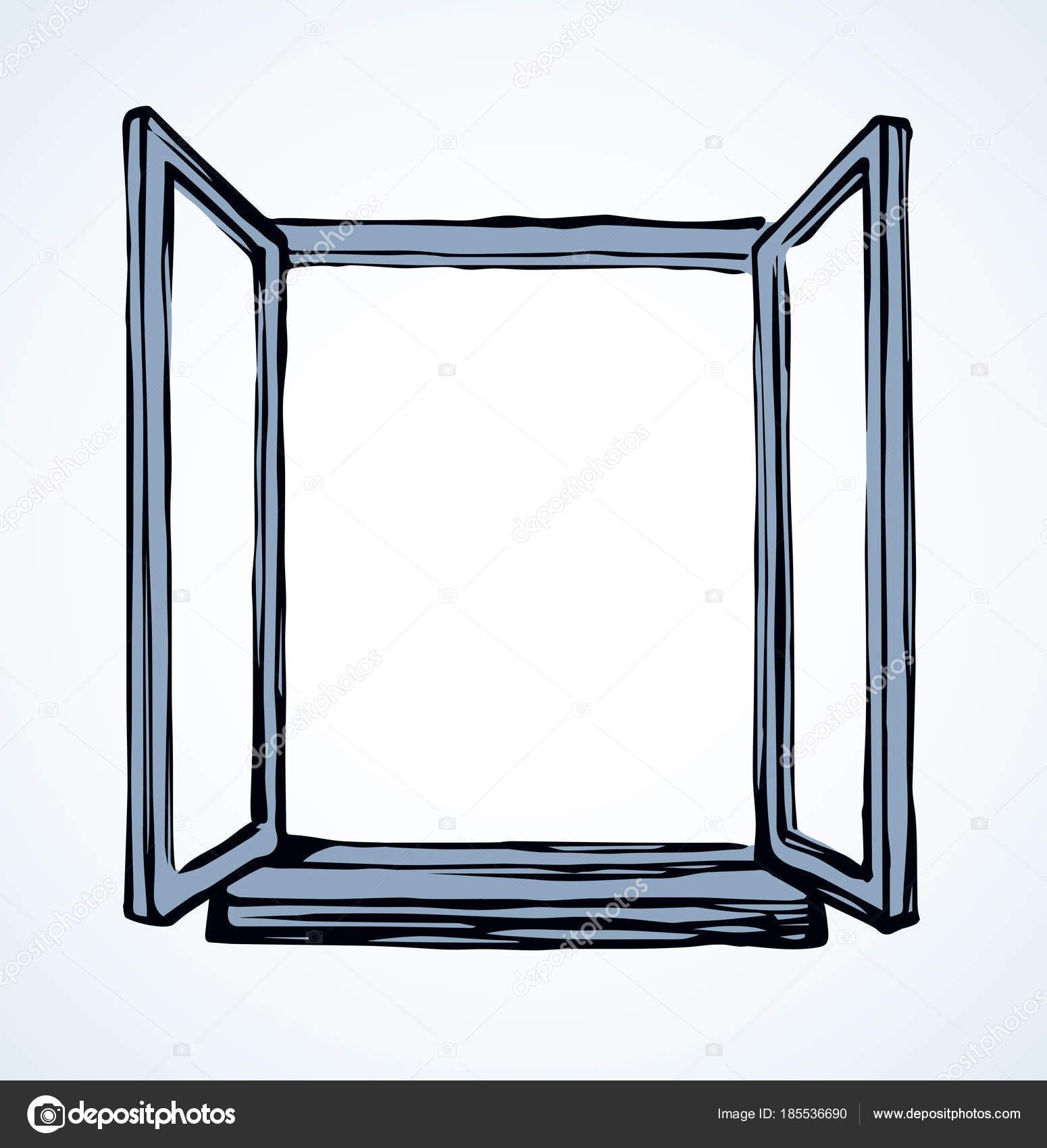 1550x1700 Open Window. Vector Drawing Stock Vector Marinka