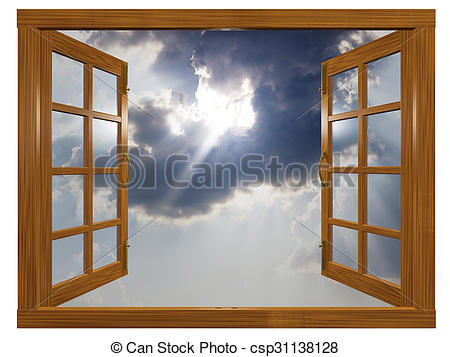450x357 Sunburst Cloudscape Through Open Wood Window. A 3d Clip Art