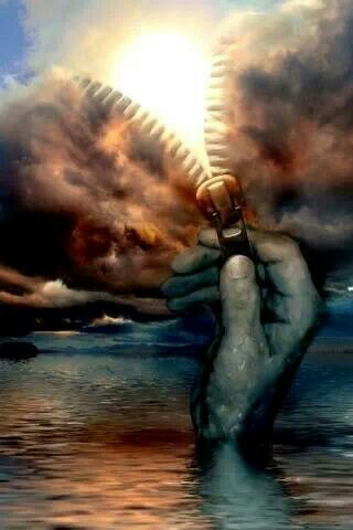 320x480 Zipper, Hand, Clouds, Sun, Water, Sparkle, Reflections, Fantasy