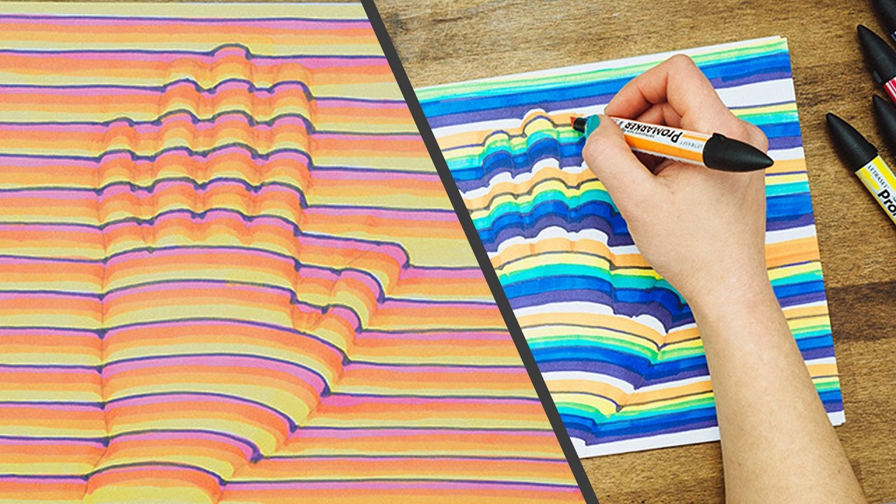 1280x720 3d Hand Drawing Step By Step How To Trick Art Optical Illusion