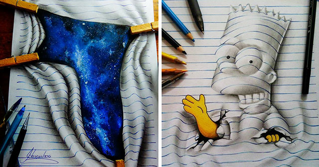 640x336 16 Year Old Artist Draws Amazing 3d Optical Illusions In His Notebook