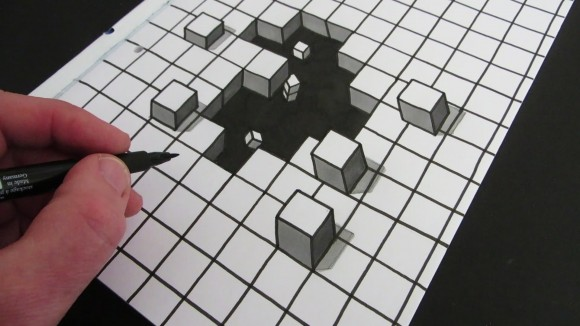 580x326 Cool Optical Illusion Cube Drawing